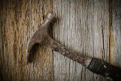 Hammer On Rustic Hardwood Floor Print by Brandon Bourdages