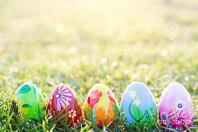 Decorating Photograph - Handmade Easter Eggs On Grass by Michal Bednarek