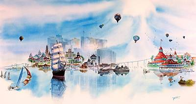 Hotel Del Coronado Painting - Happy Memories by John YATO