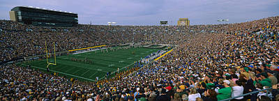 Notre Dame Photograph - High Angle View Of A Football Stadium by Panoramic Images