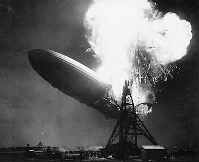 Hindenburg Disaster Print by Us Navy