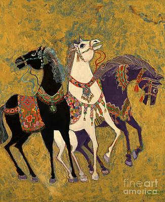 Golden Painting - 3 Horses by Laila Shawa