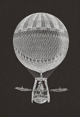 Oars Digital Art - Hot Air Balloon by Aged Pixel