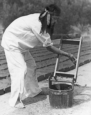 Brick Buildings Photograph - Indians Making Adobe Bricks by Underwood Archives Onia