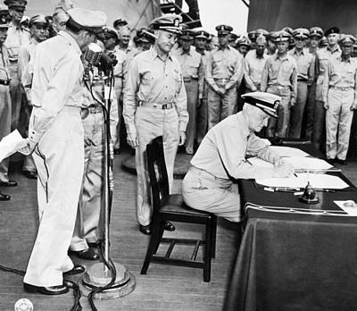Warships Photograph - Japanese Surrender Ceremony by Underwood Archives