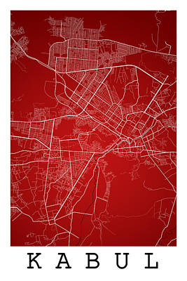 Afghanistan Digital Art - Kabul Street Map - Kabul Afghanistan Road Map Art On Colored Bac by Jurq Studio