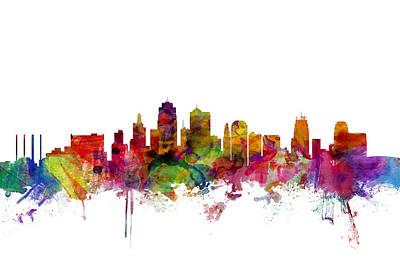 Kansas City Digital Art - Kansas City Skyline by Michael Tompsett