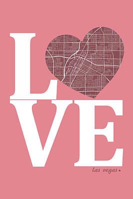 Love Digital Art - Las Vegas Street Map Love - Las Vegas Nevada Road Map In A Heart by Jurq Studio