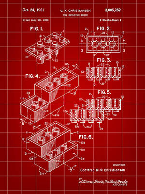 Lego Patent 1958 - Red Print by Stephen Younts