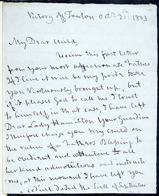 Letter Of Lord Nelson Print by British Library