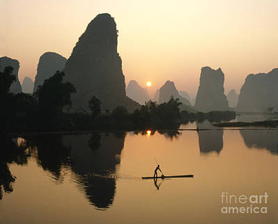 Li River At Dawn Print by King Wu