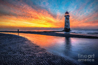 North Wales Digital Art - Lighthouse Sunset by Adrian Evans