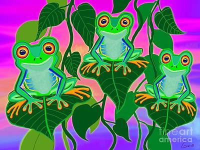 Red Eye Drawing - 3 Little Frogs On Leafs by Nick Gustafson