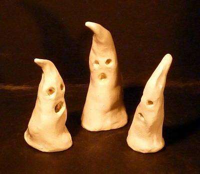 Sculpture - 3 Little Ghosts  by Debbie Limoli