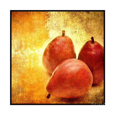 Pear Mixed Media - 3 Little Red Pears Are We 3 by Andee Design