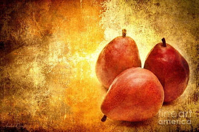 Pear Mixed Media - 3 Little Red Pears Are We by Andee Design
