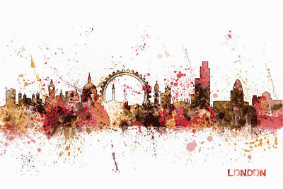 Great Digital Art - London England Skyline by Michael Tompsett