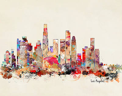 Los Angeles Skyline Painting - Los Angeles California Skyline by Bri B