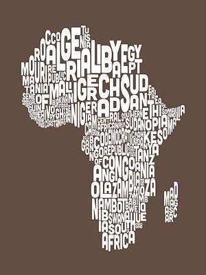 Map Of Africa Map Text Art Print by Michael Tompsett