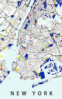 Geometric Digital Art - Map Of New York In The Style Of Piet Mondrian by Celestial Images