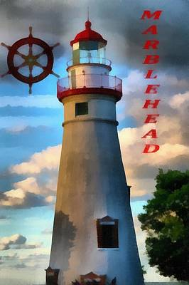 Navigation Mixed Media - Marblehead Lighthouse by Dan Sproul