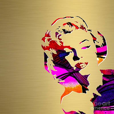 Hollywood Mixed Media - Marilyn Monroe Gold Series by Marvin Blaine