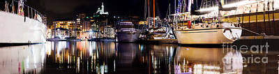 Marseille France Panorama At Night Print by Michal Bednarek