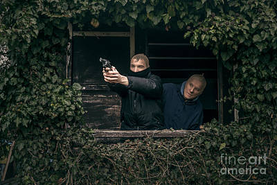 Accomplice Photograph - Masked Men With A Gun by Jan Mika