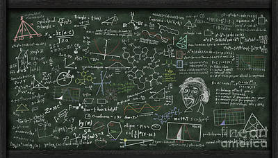 Problems Digital Art - Maths Formula On Chalkboard by Setsiri Silapasuwanchai