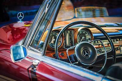 Mercedes-benz 250 Se Steering Wheel Emblem Print by Jill Reger
