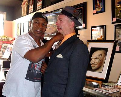 Portrait Photograph - Mike Tyson And Myself  At Mancave Memorabilia  by Jim Fitzpatrick