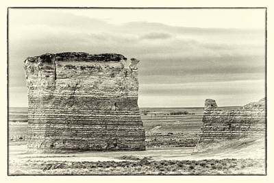 Sepia Chalk Photograph - Monument Rocks - Chalk Pyramids by Bill Kesler
