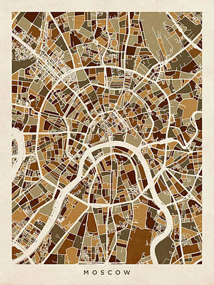 Moscow City Street Map Print by Michael Tompsett