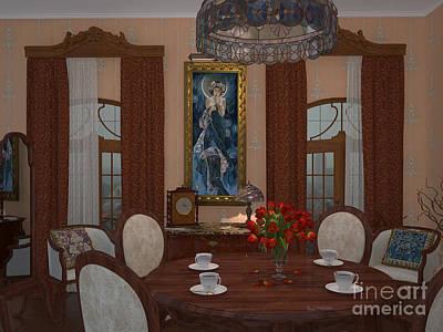 Gold Earrings Mixed Media - My Art In The Interior Decoration - Elena Yakubovich by Elena Yakubovich
