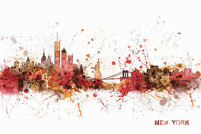 Cityscape Digital Art - New York Skyline by Michael Tompsett