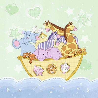Noahs Ark Drawing - Noah's Ark by Amanda Francey