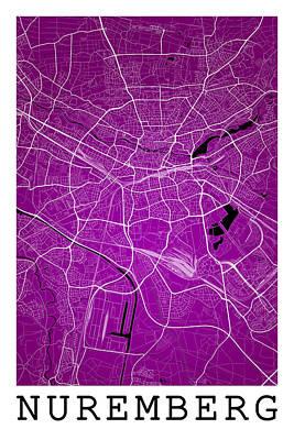 Nuremberg Street Map - Nuremberg Germany Road Map Art On Colored Print by Jurq Studio