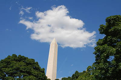 Washington Dc Photograph - Obelisk Rises Into The Clouds by Kenny Glover