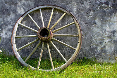 Conestoga Photograph - Antique Wagon Wheel by Olivier Le Queinec