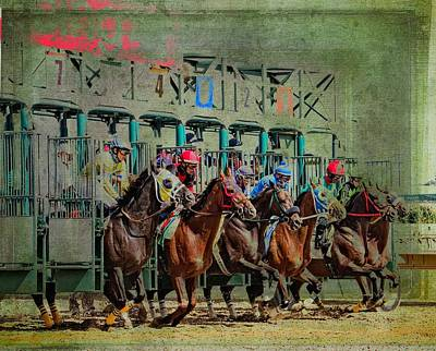 Racetrack Digital Art - Out The Gate by Alice Gipson