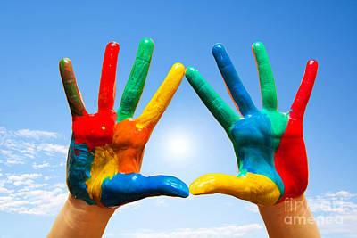 Creativity Photograph - Painted Hands by Michal Bednarek