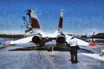 Aircraft Painting - Painting Of Intrepid Museum by George Atsametakis