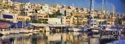 Panoramic Painting - Panoramic Painting Of Mikrolimano by George Atsametakis