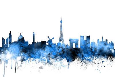 Towers Digital Art - Paris France Skyline by Michael Tompsett