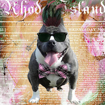 Dog Mixed Media - Pitbull Bowtie Collection by Marvin Blaine