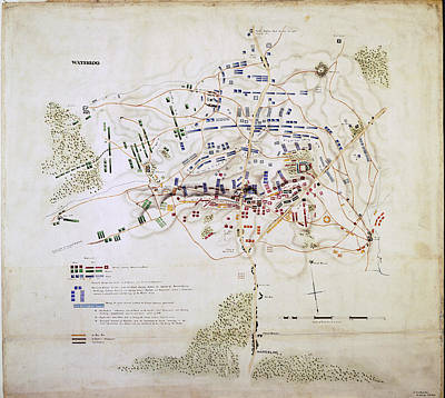 Plan Of The Battle Of Waterloo Print by British Library