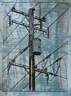 Linoleum Drawing - Pole With Transformer by William Cauthern