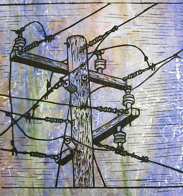 Austin Drawing - Power Lines by William Cauthern