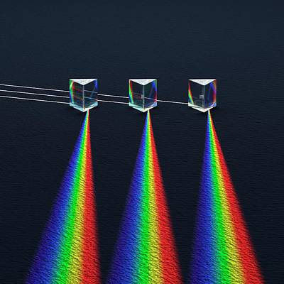 3 Prisms With Refracted Sprectra Print by David Parker
