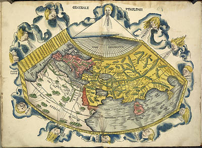 Lithographs Photograph - Ptolemic World Map by British Library